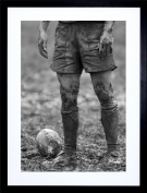 23cm x 18cm DT BALL RUGBY MUD BOWL FRAMED WALL ART PRINT PICTURE PAINTING WOODEN PHOTO FRAME BLACK WHITE OAK BROWN F97X287