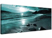 Modern Teal Canvas Pictures of a Beach Sunset - Turquoise Sea Wall Art - 1079 - Wallfillers®