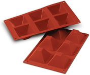 PYRAMID 6 Cavity Non Stick Silicone Baking Mould 7.1cm - by Silicone-Bakeware