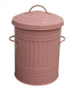 Small Pink 30L Litre Galvanised Metal Bin - Rubbish Waste Dustbin / Animal Feed / Lidded Storage