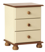 NJA Furniture Copenhagen 3-Drawer Bedside, 58 x 44 x 39 cm, Cream/ Pine