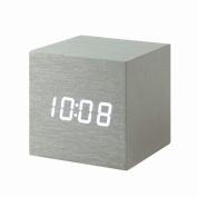 Cube Aluminium Click Clock - White LED