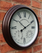 Outdoor Garden Wall Clock With Temperature And Humidity Roman Numerals - 38cm