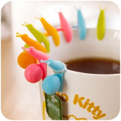 Snail Wineglass Label for Hanging Tea Bag Colourful Snails Clip Silicone Gifts Drinkware Gadgets-Colour Random