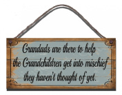 Funny Sign Birthday OccasionShabby Chic Wooden Wall Plaque Grandads Are there To Help The Grandchildren Get Into Mischief They Haven't Thought Of Yet Gift Present