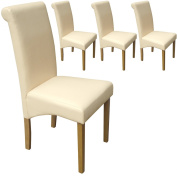 Set of 4 Faux Leather Scroll Top Dining Chairs Cream With Padded Seat & Oak Finish Legs