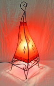 Plain Moroccan Henna Floor Lamp - Square - Red 60 Centimetre