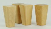 4 x WOODEN FEET REPLACEMENT FURNITURE LEGS 120mm HEIGHT FOR SOFAS, CHAIRS, CABINETS - PRE DRILLED