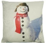 CHRISTMAS SNOWMAN SOFT LUXURIOUS VELVET CREAM RED CUSHION COVER 43cm #NAMWONS