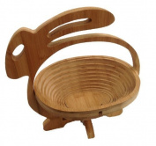 Bamboo Fruit Bowl Decorative Bowl Fruit Basket Wooden Hare Design Folding