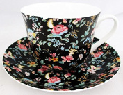 Petite Bombay Breakfast Cup & Saucer Petite Bombay Black Fine Bone China Large Cup & Saucer Hand Decorated in the U.K. Free UK Delivery