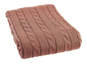 Arus Luxury Cotton Cable Knit Throw Blanket, Terra Cotta