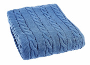 Arus Luxury Cotton Cable Knit Throw Blanket, Saks Blue