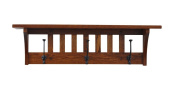 Mission Coat Rack Shelf Wall Mounted, Mission , 3 Hook, Oak Wood, Michaels Stain, Custom Available