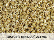 10gr Czech Two Hole Seed Beads MiniDuo 2x4 mm Chalk White Drizzled Honey Lustre