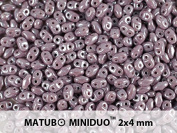 10gr Czech Two Hole Seed Beads MiniDuo 2x4 mm Opaque Violet White Lustre