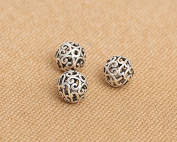 Luoyi 10mm Vintage Thai Sterling Silver Beads, Round with Cloud, Hollow, Spacer Beads, DIY Jewellery