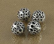 Luoyi Vintage Thai Sterling Silver Beads, Round with Rose Flower, Hollow, Spacer Beads, DIY