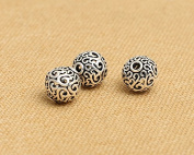 Luoyi Thai Sterling Silver Charm Beads, Hollow, Round with Cloud, Spacer Beads, DIY