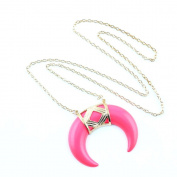 1 PCS Fashion Jewellery Necklace Long Chain Pendent Sweater Collar Bib Choker Collier Rose Red Horn Half Moon