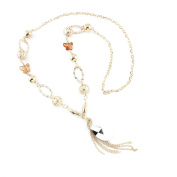 1 PCS Fashion Jewellery Necklace Long Chain Pendent Sweater Collar Bib Choker Collier Golden Faceted Crystals Tassels