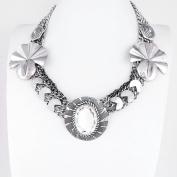 1 PCS Fashion Jewellery Necklace Long Chain Pendent Sweater Collar Bib Choker Collier Silver White Rhinestone