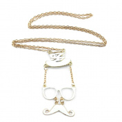 2 PCS Fashion Jewellery Necklace Long Chain Pendent Sweater Collar Bib Choker Collier White Punk Hat Beard Moustache Glasses
