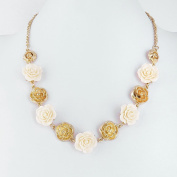 1 PCS Fashion Jewellery Necklace Long Chain Pendent Sweater Collar Bib Choker Collier Golden White Roses
