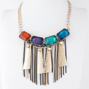 1 PCS Fashion Jewellery Necklace Long Chain Pendent Sweater Collar Bib Choker Collier Colourful Rhinestone Tassels