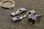 10 Sets Integral Clasps Jewellery Finding Clasps End Clasps Buckle Clasps Silver Tone For Leather Cords Bracelets Making 5mmX2mm