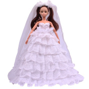 Teenitor® Handmade Luxury Deluxe Fashion 8 Layer White Fashion Barbie Wedding Dress With Mantillas for Barbie Doll Xmas Gift Shipping By FBA
