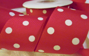 Grosgrain Ribbon - *3.8cm Wide Red Party Dots* - 25 Yard Roll