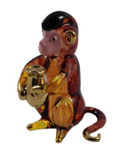 TINY CRYSTAL Monkey HAND BLOWN CLEAR GLASS ART Monkey FIGURINE ANIMALS COLLECTION GLASS BLOWN