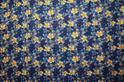 All over Plumeria and Hibiscus flower print Blue rayon fabric print