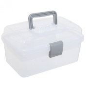 Clear Grey Multipurpose First Aid, Arts & Craft Supply Case / Storage Container Box w/ Removable Tray