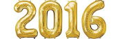 2016 New Year 90cm Gold Mylar Balloons (4/pkg) Pkg/1