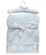 """Quiltex """"Square Link Trim"""" Plush Blanket - blue, one size"""