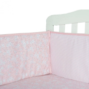 Tillyou 100% Cotton Sateen Crib Bumper, Pink Stripe Floral