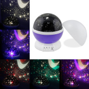 ESUMIC® Sun And Star Night Lighting Lamp 4 LED beads Romantic Rotating Lamp Star Sky Moon Projector for Baby Nursery Bedroom Children Room and Christmas Gift