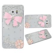 KAKA(TM) 3D Handmade Rhinestone Bling Crystal Case Cover Pink Flower Bowknot Pattern For Samsung Galaxy S6