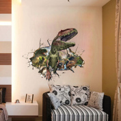 Fange DIY Removable 3D Roaring Jurassic Dinosaurs Walking Out of the Cracked Hole View Art Mural Vinyl Waterproof Wall Stickers Living Room Decor Bedroom Decal Sticker 90cm x 60cm