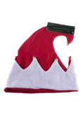 Classic White and Red Festive Christmas Elf Hat with Bells