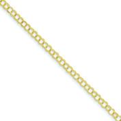 "14K Gold Double Link Charm Pendant Jewellery Bracelet 8"" x 4mm"