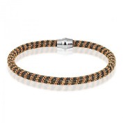 Sterling Silver 925 Black and Rose Gold Magnetic Bracelet 19cm - The Royal Gift