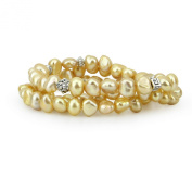 Genuine Freshwater Cultured Pearl 7-8mm Champagne Stretch Bracelets (Set of 3) 7.5""
