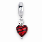 Sterling Silver Reflections Red w/Stripes Hrt Ital. Murano Dangle Bead