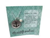The Vintage Pearl Anchor Of Hope Pewter Disc Charm Necklace