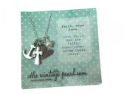 The Vintage Pearl Faith Hope Love 3-Charm Necklace - Fine Pewter
