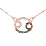 Double-Mounted 14k Rose Gold Diamond Cancer Zodiac Pendant Necklace