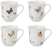 Lenox Butterfly Meadow Mug, 300ml, Assorted Colours, Set of 4